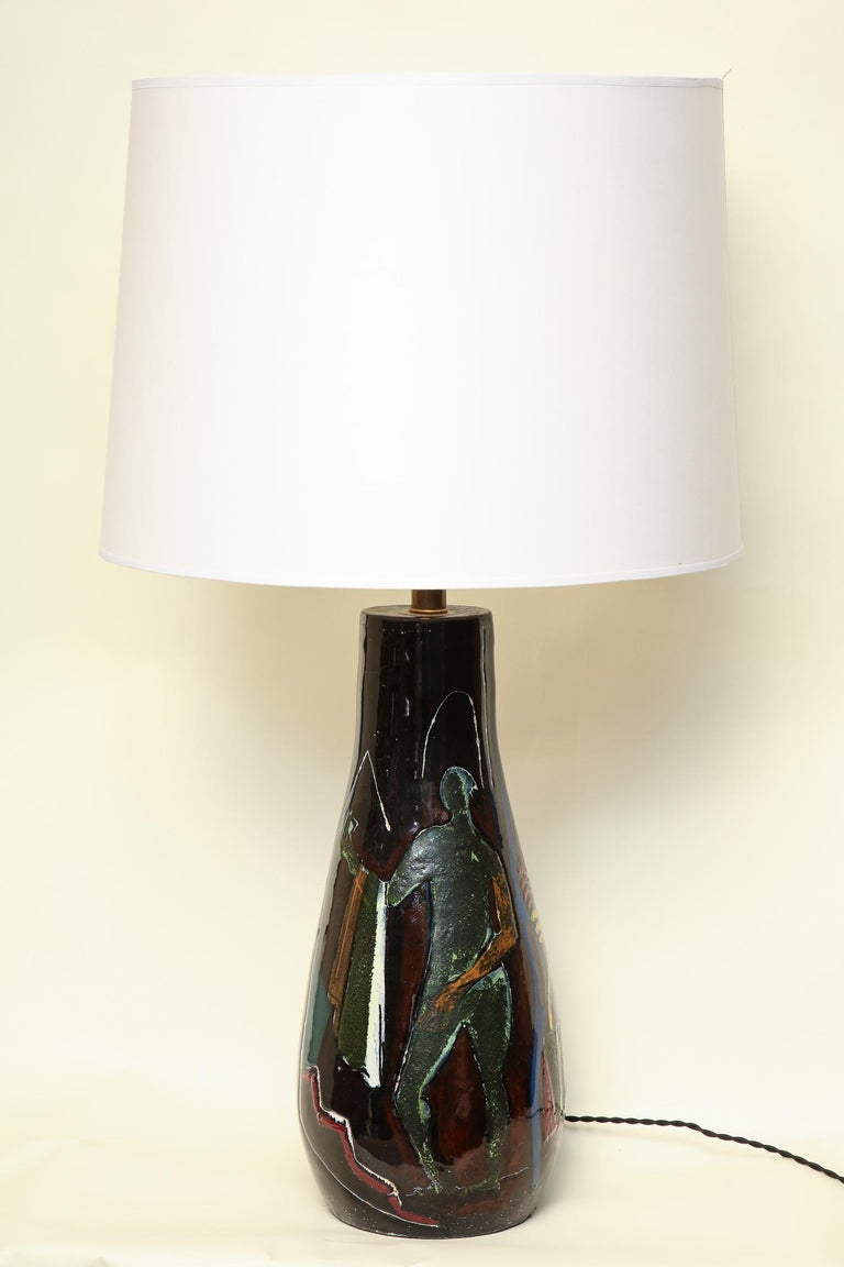 Italian Art Rumi Signed Table Lamp Ceramic with Stylized Man Mid-Century Modern For Sale