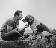 Brando and His Dog, Libertyville, Illinois, 1950 - Black and White Photograph