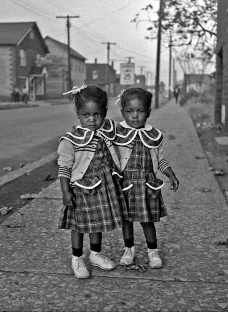 Art Shay Black and White Photograph - Brooklyn, Illinois, Twins, 1952 - For Ebony Magazine in Lovejoy AKA Brooklyn, IL