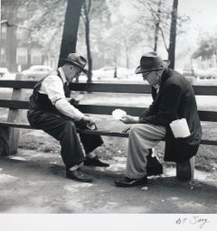 Card Players, Two Gentleman on a Park Bench circa 1953, Black & White Photograph