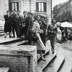 Dorothy on the Steps, Spanish Step, Rome '56, Silver Gelatin Black & White Photo