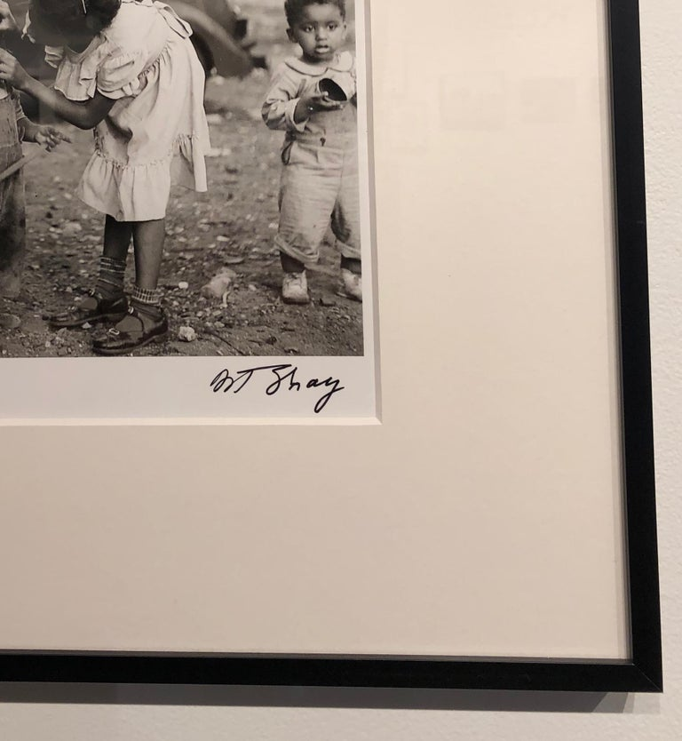 First Aid 1950, Black and White Photograph of Two Small Children, Signed, Framed For Sale 1