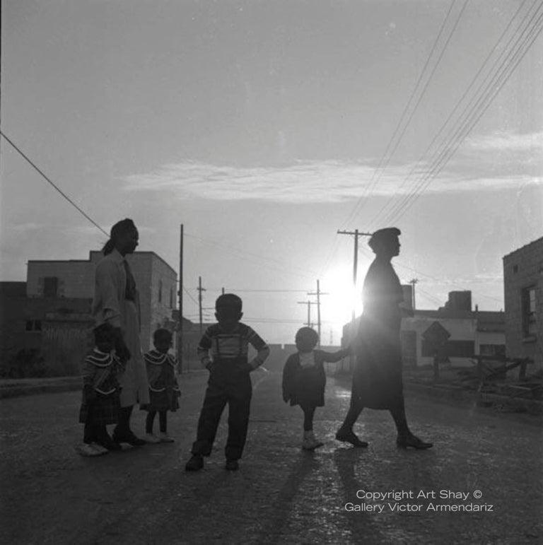 Art Shay Black and White Photograph - Lovejoy AKA Brooklyn, Illinois, Sunday Morning Walk for Ebony Magazine, 1952