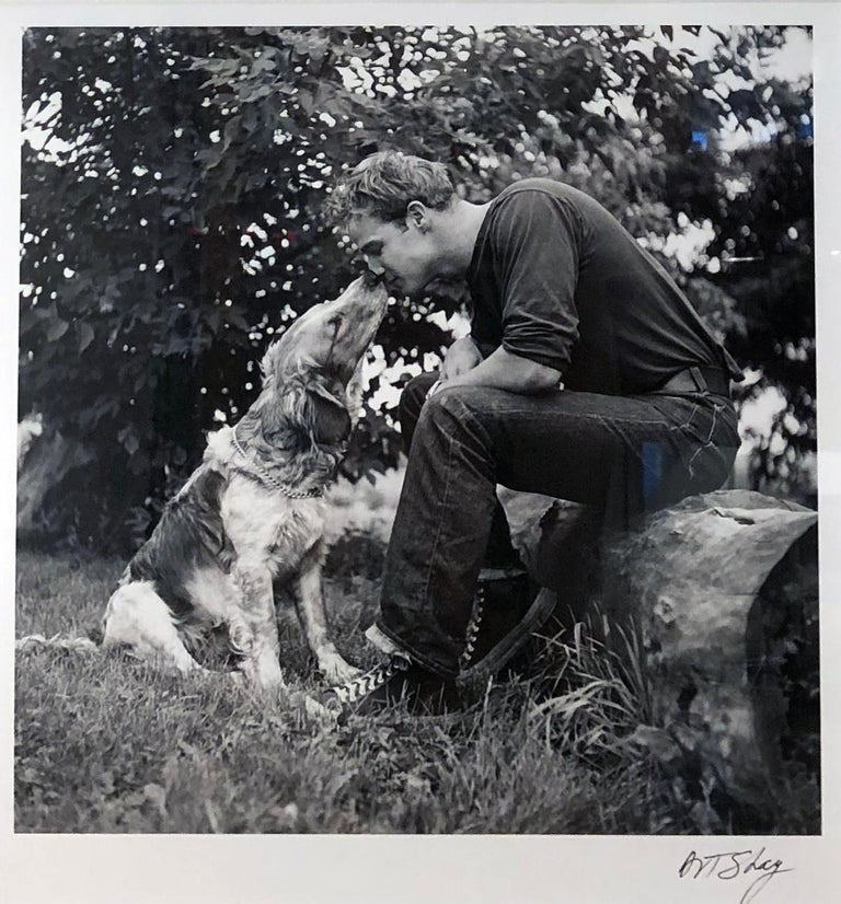 This is black and white photo of Marlon Brando as a young man at his family farm with his dog.  In 1951 Life Magazine asked Art Shay to photograph Marlon Brando at his family home in Libertyville, IL.  This is one of the photos from that shoot.  In