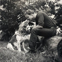Marlon Brando Kissing Dog, Libertyville, IL 1950 - Black & White Photograph