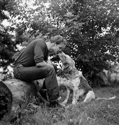 Marlon Brando Kissing Dog, Libertyville, IL 1950 - Large Format Black & White