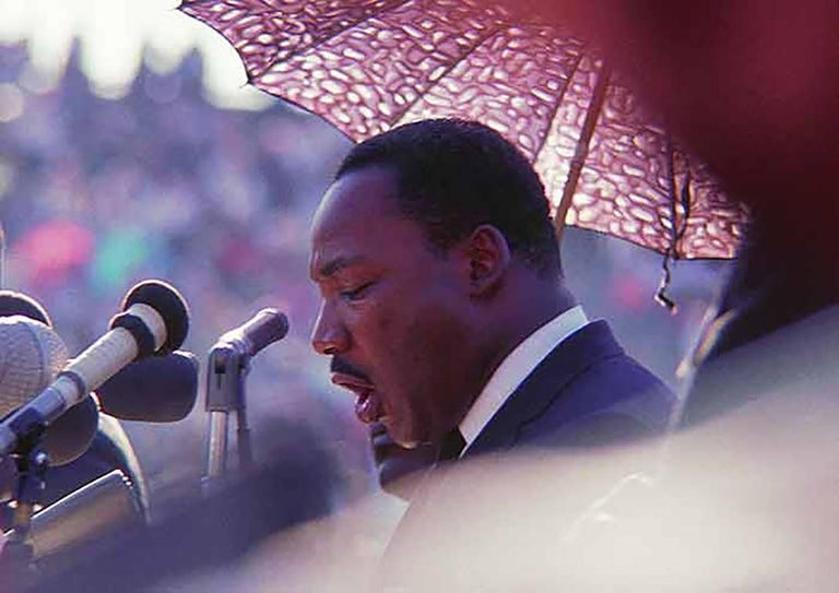 Art Shay Color Photograph - Martin Luther King Speaking at Soldier Field, Chicago 1966