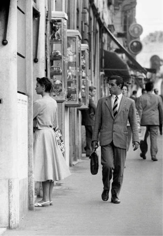 Art Shay Black and White Photograph - Roma, An Italian Gentleman Enjoying a Beautiful Woman, Black & White Photograph