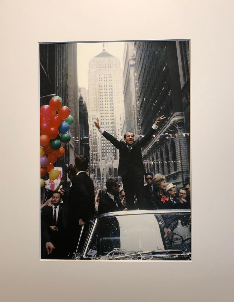 The Nixons on LaSalle Street, Chicago, 1968, Color Photograph, Signed on Back For Sale 1