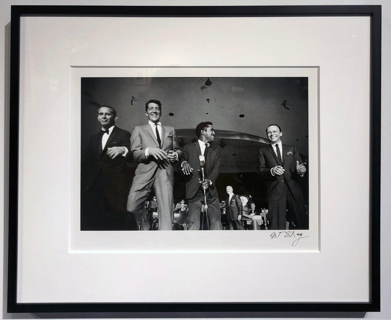 The Rat Pack on Stage Performing in Las Vegas, 1961, Black and White Photo - Contemporary Photograph by Art Shay