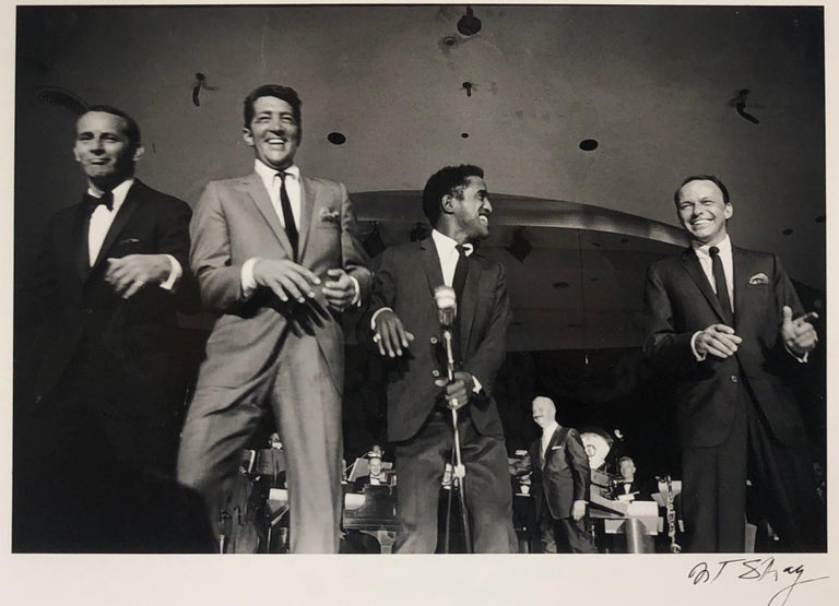 The Rat Pack on Stage Performing in Las Vegas, 1961, Black and White Photo - Photograph by Art Shay