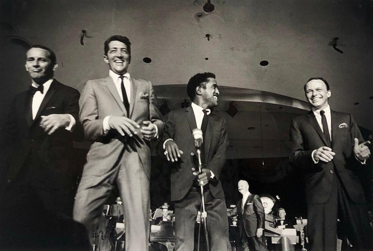 Art Shay Black and White Photograph - The Rat Pack on Stage Performing in Las Vegas, 1961, Black and White Photo