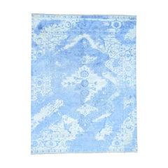 Art Silk Broken Heriz Design Hand Knotted Oriental Rug