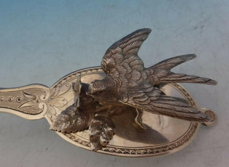 20th Century Art Silver J E Caldwell Sterling Silver Berry Spoon 3-D Bird & Flower Leaf Bowl For Sale
