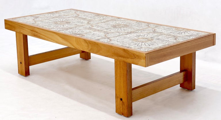 20th Century Art Tile and Teak Rectangular Danish Mid-Century Modern Coffee Table For Sale