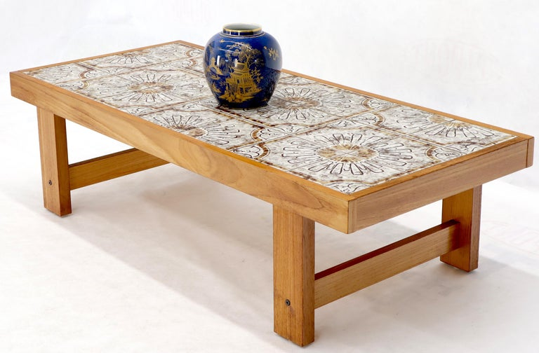 Art Tile and Teak Rectangular Danish Mid-Century Modern Coffee Table For Sale 1
