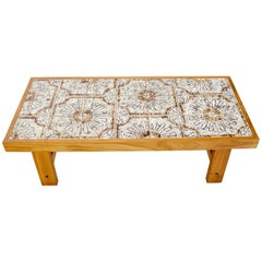 Art Tile and Teak Rectangular Danish Mid-Century Modern Coffee Table