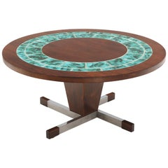 Art Tile Top Rosewood Cone Shape Base Round Coffee Table
