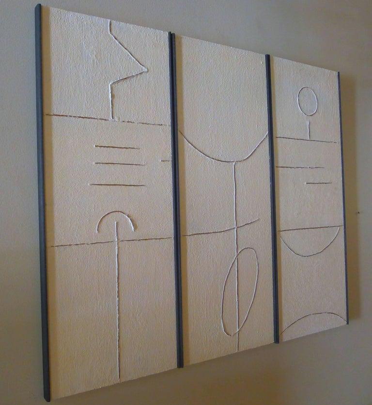 American Art Triptych in Gesso by Paul Marra For Sale