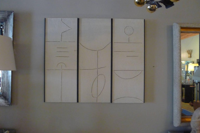 Art Triptych in Gesso by Paul Marra In Excellent Condition For Sale In Los Angeles, CA
