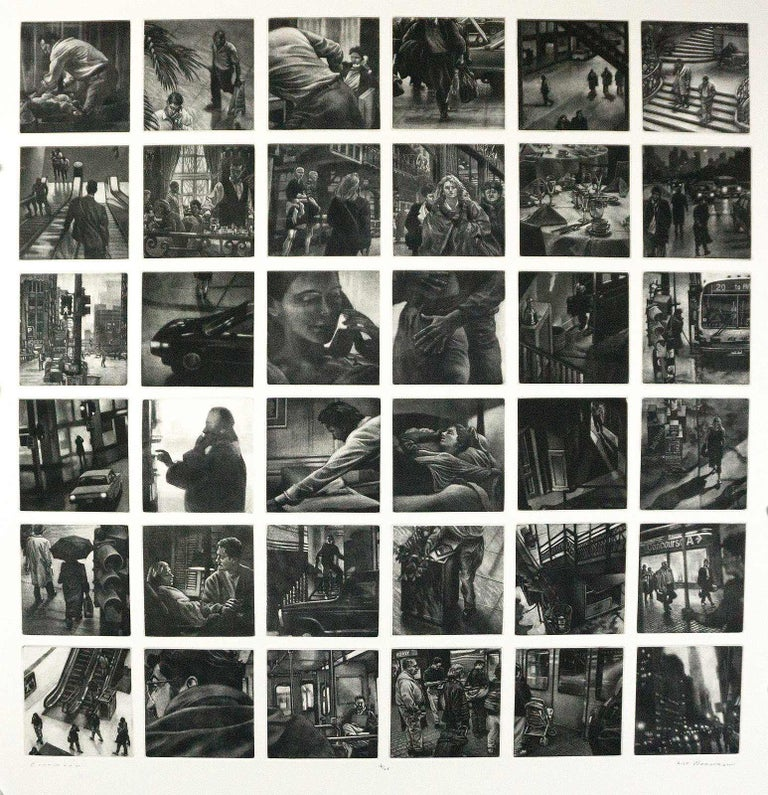 Continuum is a single sheet on which are printed 36 individual mezzotints.  This collection of mezzotints is printed in a limited edition of 25.  Each of the 36 images portrays a moment in time for ordinary people.  It shows a continuous sequence in
