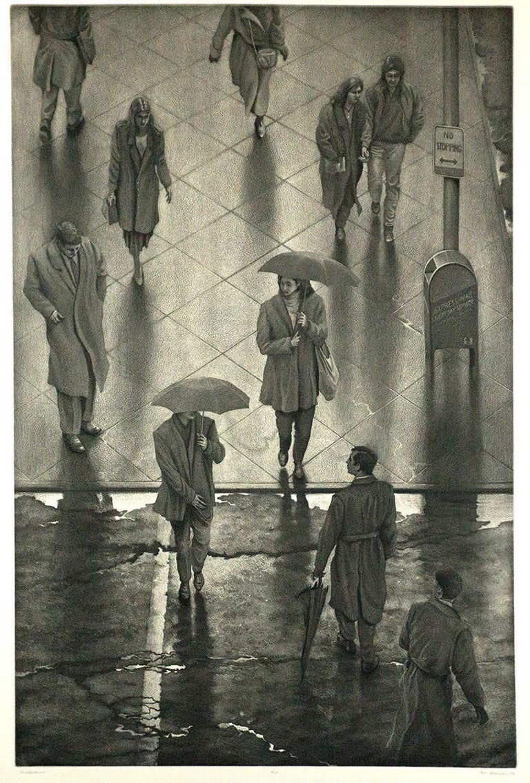 Counterpoint is #2 out of an edition of 10.  It is a scene of pedestrians in New York City rushing through the rain, some with umbrellas drawn, dodging the puddles of  standing water. Art Werger's lyrical suburban scenes are evocative of boyhood