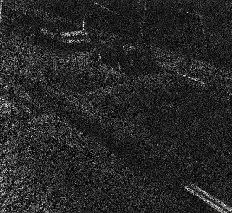 Delayed (suburban New Jersey commuter walks thru rain because bus is late) - Black Figurative Print by Art Werger