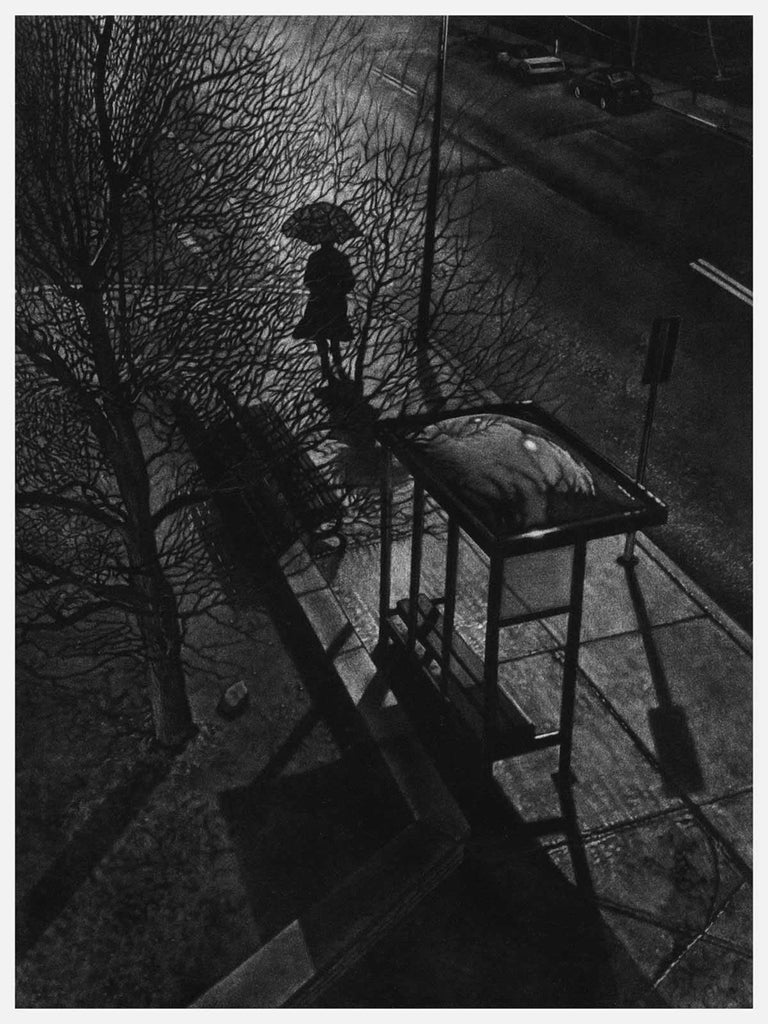 Art Werger creates a memory of his boyhood home in suburban New Jersey.  It's late, cold and rainy as this woman raises her umbrella to brave the walk home after giving up on the bus.  She has just left the bus shelter and slips through the shadows