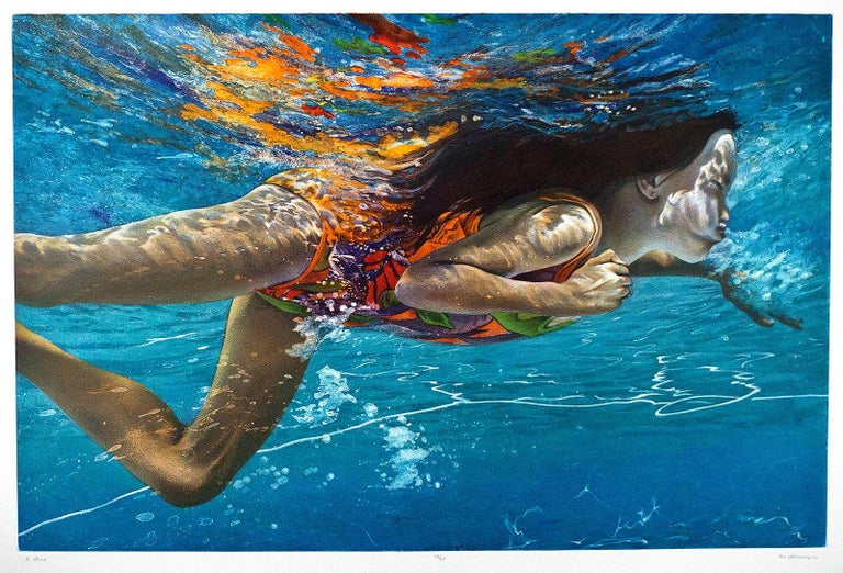Muse - Blue Figurative Print by Art Werger