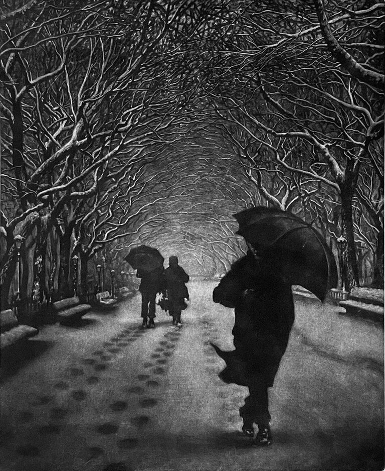 Werger's mezzotint prints are masterful at capturing a mood, and suggesting a story for the viewer to complete. Anonymous pedestrians passing on a snowy walk through Central Park. Umbrella's, reflections of rain on pavement, and the movement of
