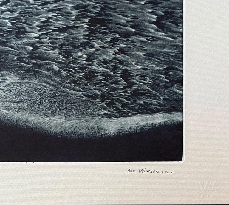 Werger's mezzotint prints are masterful at capturing a mood, and suggesting a story for the viewer to complete. His seascapes and ocean prints are from the California coastline. Signed and numbered from the edition of 40.  Werger has received over