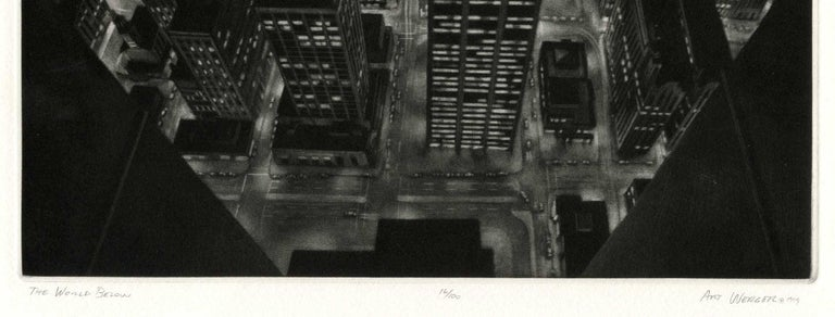 The World Below (view of lower Manhattan from observation deck of Twin Towers) - Print by Art Werger