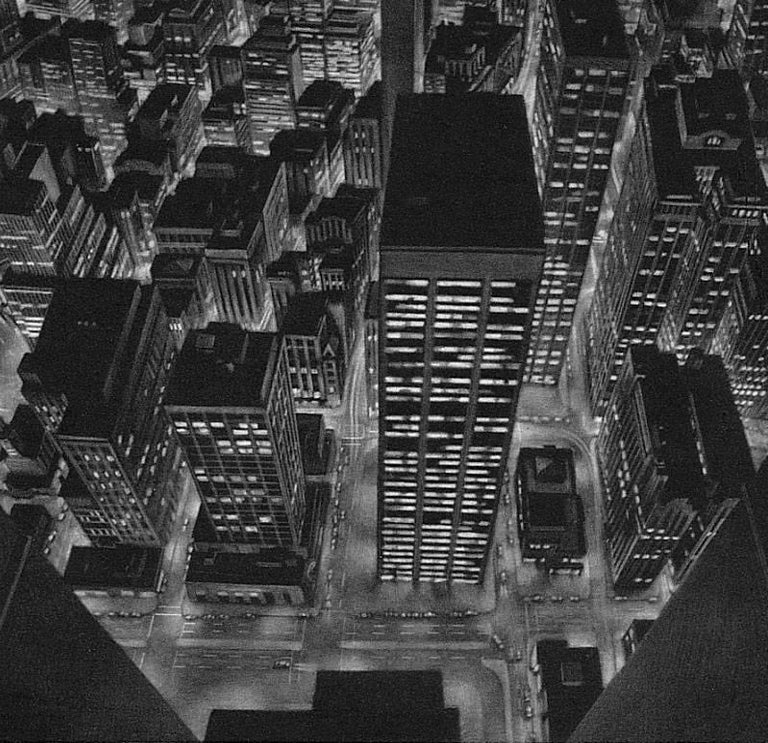 The World Below (view of lower Manhattan from observation deck of Twin Towers) - Contemporary Print by Art Werger