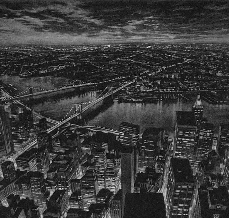 The World Below (view of lower Manhattan from observation deck of Twin Towers) - Black Print by Art Werger