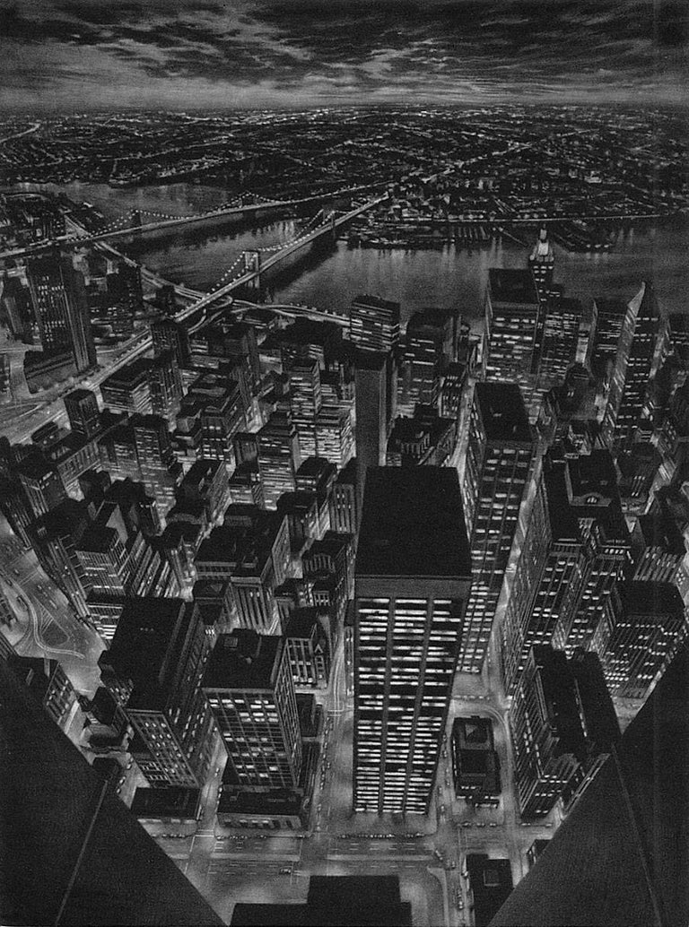 Art Werger Print - The World Below (view of lower Manhattan from observation deck of Twin Towers)