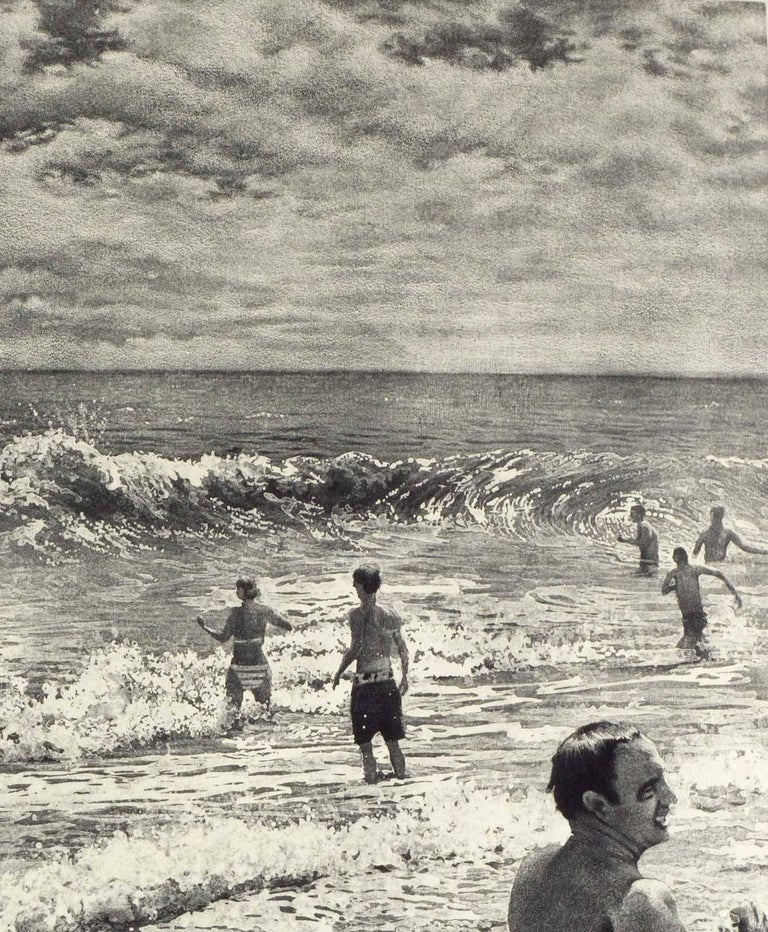 Tidal Shift # 1 (Young bathers stroll on beach with others out in surf Montauk) - Contemporary Print by Art Werger