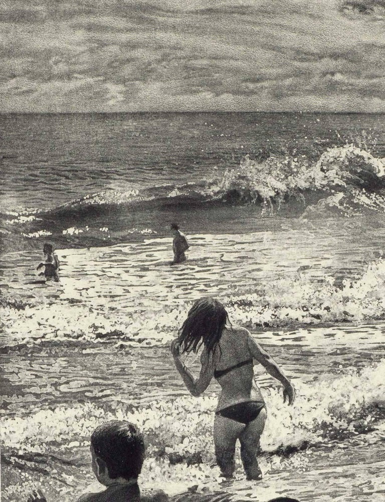 Tidal Shift # 1 (Young bathers stroll on beach with others out in surf Montauk) - Gray Figurative Print by Art Werger