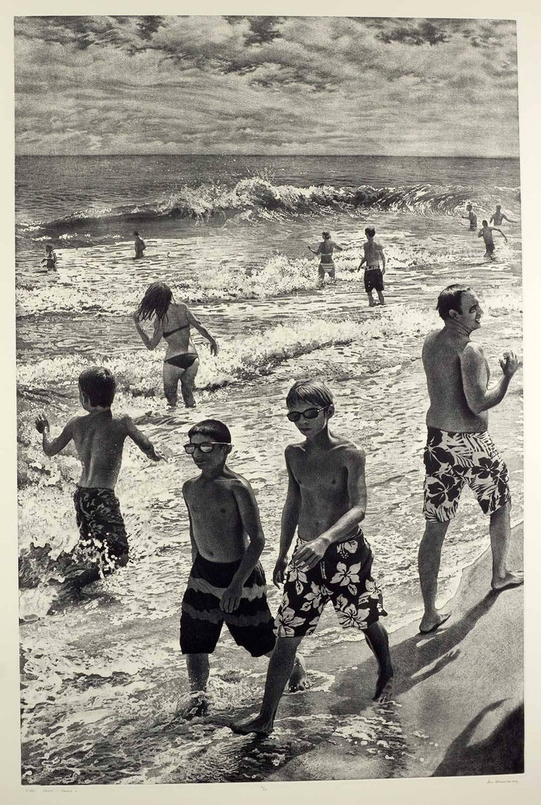 Tidal Shift # 1 (Young bathers stroll on beach with others out in surf Montauk) For Sale 2