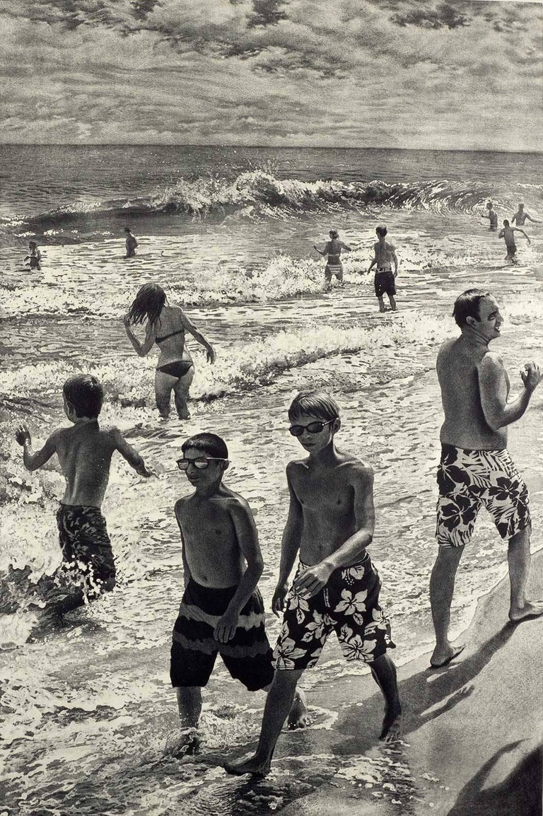 Art Werger Figurative Print - Tidal Shift # 1 (Young bathers stroll on beach with others out in surf Montauk)