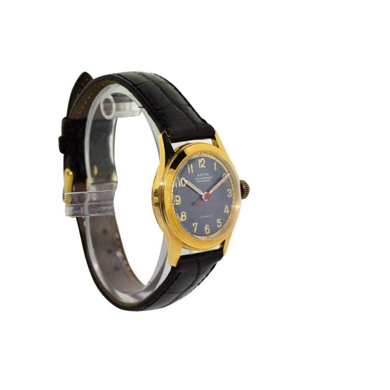 Art Deco Arta Yellow Gold Original Dial Manual Wind Watch, 1950s For Sale