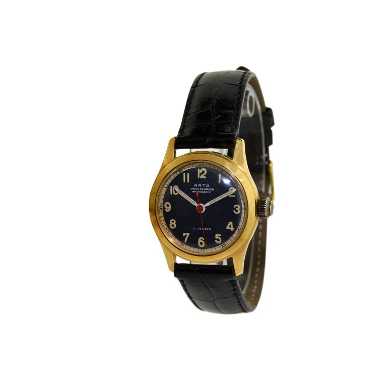 Arta Yellow Gold Original Dial Manual Wind Watch, 1950s In New Condition For Sale In Long Beach, CA