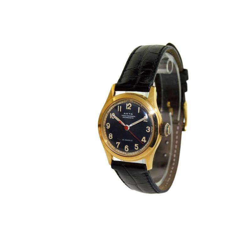 Women's or Men's Arta Yellow Gold Original Dial Manual Wind Watch, 1950s For Sale