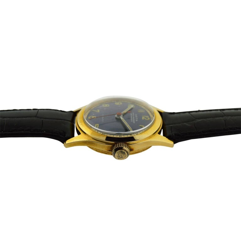 Arta Yellow Gold Original Dial Manual Wind Watch, 1950s For Sale 1
