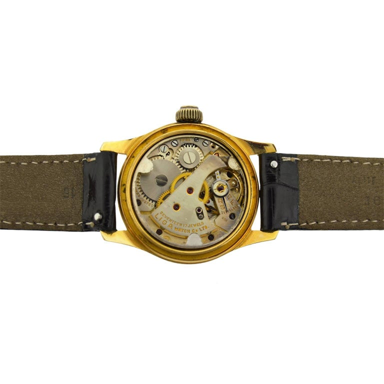 Arta Yellow Gold Original Dial Manual Wind Watch, 1950s For Sale 3