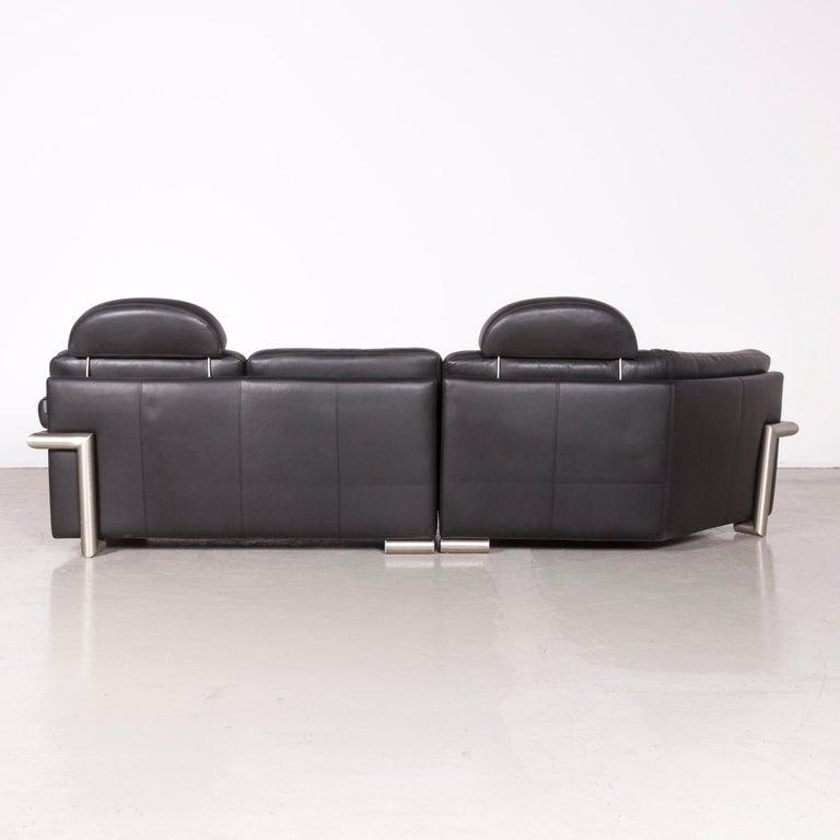 Artanova Medea Designer Black Leather Corner Sofa Couch 4