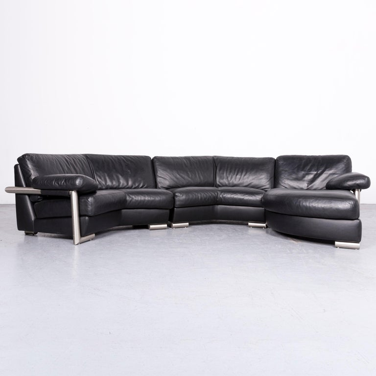 Artanova Medea Designer Black Leather Corner Sofa Couch For Sale at ...