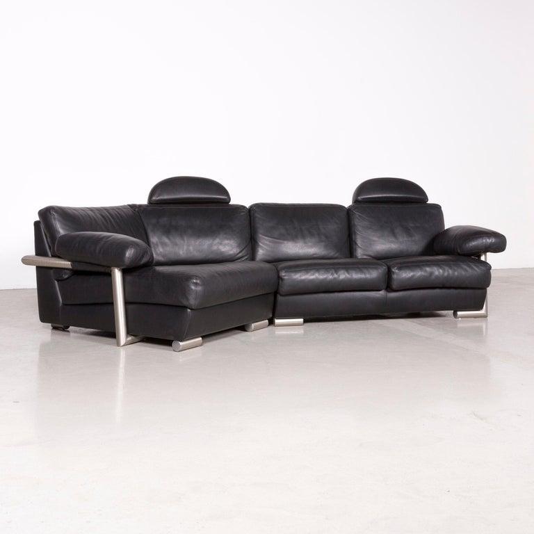 Modern Artanova Medea Designer Black Leather Corner Sofa Couch