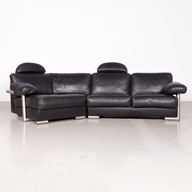 Swiss Artanova Medea Designer Black Leather Corner Sofa Couch