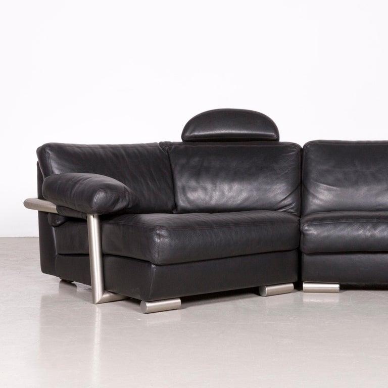 Artanova Medea Designer Black Leather Corner Sofa Couch In Good Condition In Cologne, DE