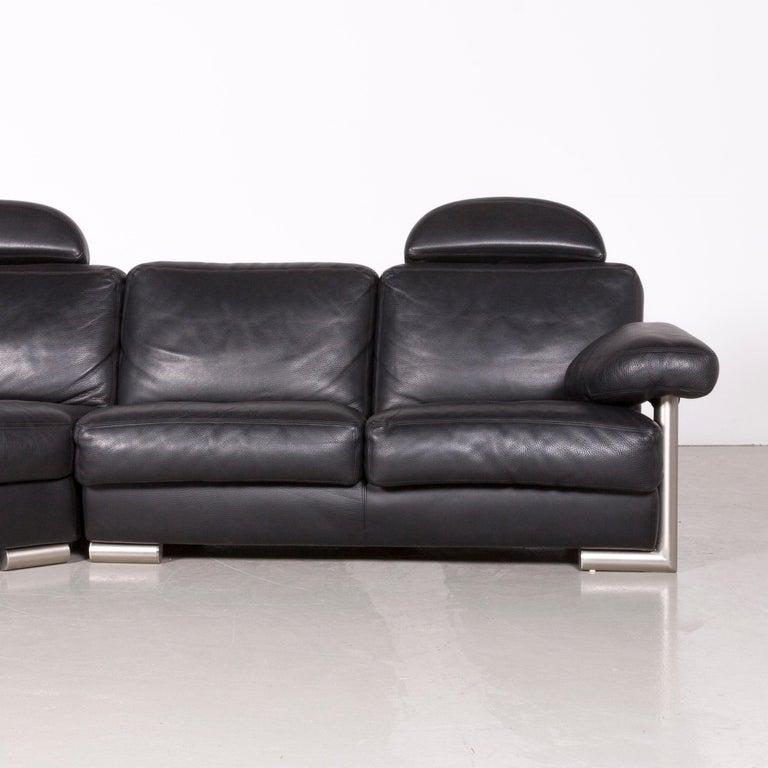 Contemporary Artanova Medea Designer Black Leather Corner Sofa Couch